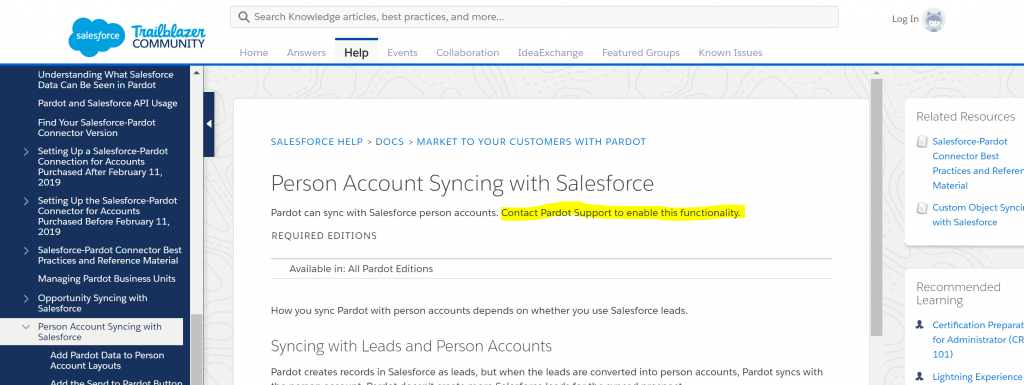 salesforce connector pardot person accounts